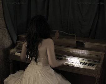 Magic Fingers - FREE SHIPPING Surreal Photo Print Girl Playing Piano Light Hands Dark Art Spooky Haunting Portrait Cream Vintage Portrait