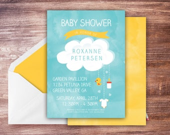 Happy Clouds Baby Shower Invitation