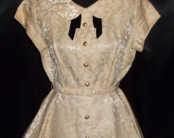 "Vintage 1940-50's Ivory Brocade ""Jenny"" Top / Blouse / Shirt / Jacket 36"