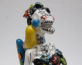 TALAVERA CATRINA Frida Kahlo with monkey       mexican folk art day of the dead