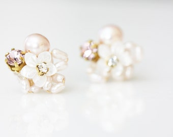 Little Mother of Pearl Flower and Rhinestone Cluster Stud Earrings