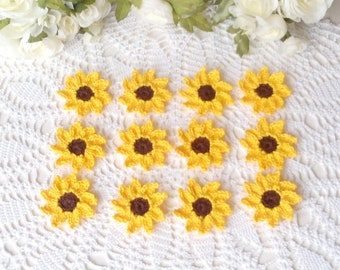 12 Crochet Pointy Daisies in Sunflower Yellow - 2 1/4 inch - 6 cm