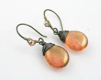 Pink Earrings, Czech Glass Earrings, Wire Wrapped Earrings, Pink and Black Earrings, Beaded Earrings, Earrings Handmade, E1870