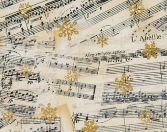 Sharyn Sowell OOP Christmas Fabric for Robert Kaufman - Silhouette Holiday - Metallic Gold Snowflakes on Vintage Sheet Music - One Yard