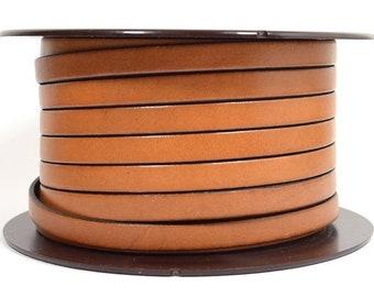 8mm Flat European Leather - Tan - Choose Your Length