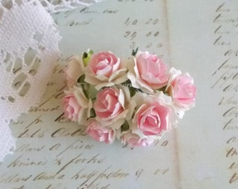 Scrapbooking, Mulberry Paper Shabby Chic Pink and White roses