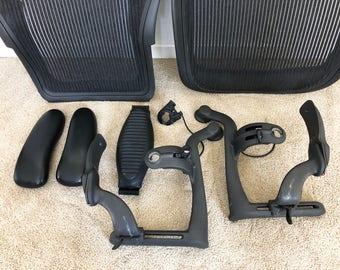 Herman Miller Aeron chair seat / arm rest frames Graphite size C