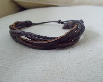 Brown Leather Surfer Style Bracelet