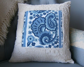 "Pillow Cover, Upcycled Pillow Cover, 16"" x 16"" Pillow Cover, Chenille Pillow Cover, Ivory & Blue Pillow Cover, Throw Pillow Cover"
