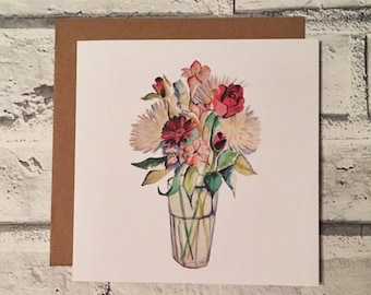 Flowers Card // Watercolour Painting // Greetings Card // Blank Card // Illustration