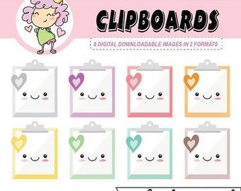 50%off Kawaii Clipart Clipboards! DIGITAL DOWNLOAD, clipboard, clip art, bookkeeping, kawaii clipboard, digital art, digital planning