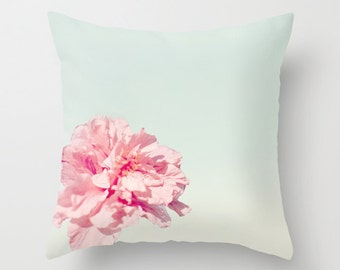 Peony Pillow - Dreamy Pillow Case - Pink Flower Pillow Cover - 16x16 18x18 20x20 Pillow - Pink Teal Pillow - Pretty Pillow Cover - Cute