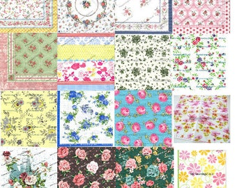 Decoupage Napkins, Paper napkins, Decoupage, Small Roses, Roses Pattern, Red Roses, Blue Roses, Small Leaves, tinny roses, tinny pattern,