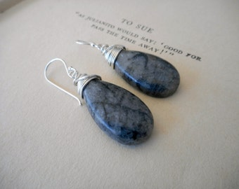 Woodland Shadows Earrings. Charcoal Black and Gray Spider-webbed Obsidian Stone Drop & Sterling Silver Earrings.