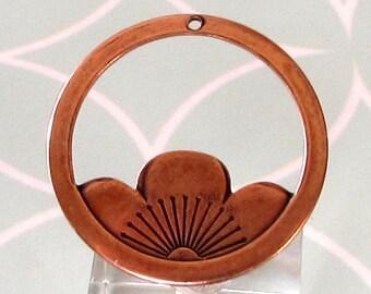 Floating Lotus Pendant, Antique Copper, AC211