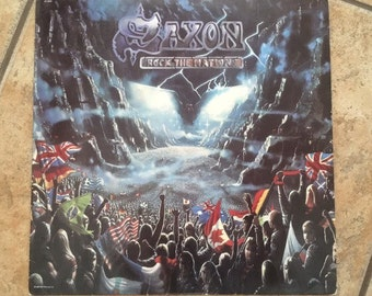 "1986 Saxon ""Rock The Nations"" Vinyl Record Heavy Metal Album • 1980's Records • Vintage Rock"
