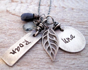 Family Necklace - Hand Stamped Jewelry - Personalized Jewelry - Rugged