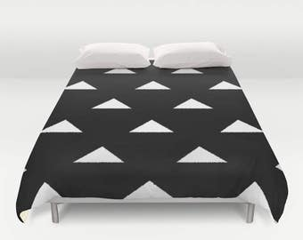 Geometric Duvet Cover, Black White, Twin, Queen, King, Doona Cover, Comforter cover