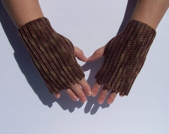 Neutral brown fingerless gloves mitts wristers wristlets