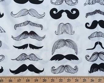 Mustache Men Barber Shop Trim Fabric Alexander Henry Masculine Facial Hair Wheres My Stache Male Beard Boy Cotton Fabric By the Yard HY t3/2