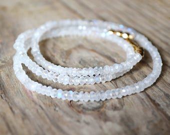 FLASH SALE /// rainbow moonstone beaded necklace ///  gemstone statement necklace in gold or silver /// simple everyday layering necklace