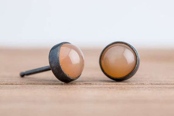 Peach Moonstone Gemstone Stud Earrings in Oxidized Black Sterling Silver