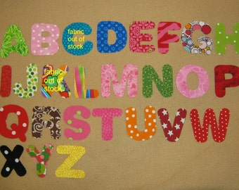 """Alphabets Fabric Letters - You Choose - pick your color - max 9 letters - 2"""" size - Iron on Sew on"""