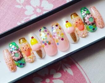 Dessert nail set- glitter nails, false nails, fake nails, press on nails, 3D nails, kawaii nails