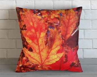 Orange Fall Leaves Pillow
