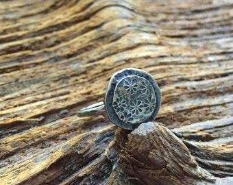 in flowers and wind and rain sterling ring - adjustable