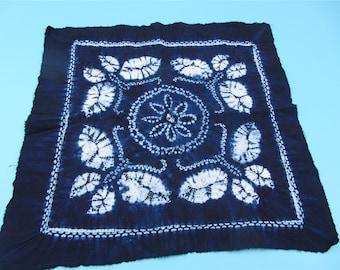Shibori butterfly Fabric, Hand Dyed indigo  Shibori Fabric ,100% cotton fabriic,flower Fabric -55cm*55cm