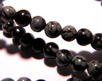 10 pearls 4 mm natural Obsidian-snowflake - PG227