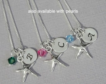 Personalized Starfish Necklace, Bridesmaid Gift Necklace, Beach Wedding Necklace, Sea Star Necklace with Initial Charm, Starfish Jewelry