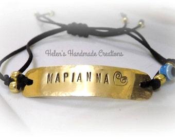Greek name Greek word  personalized bracelet Handstamped adjustable brass bracelet