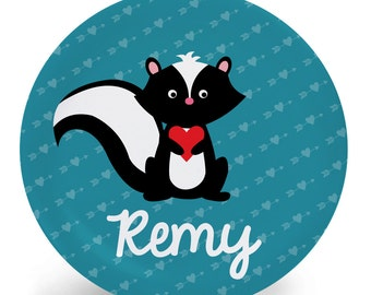 Valentine's Day Plate - Skunk with Heart - Personalized Child's Plate - Child's Bowl - Melamine Bowl or Plate Personalized (Plastic)