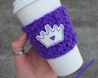 Princess crown coffee cozy, Queen sparkly travel mug cozy, mug sweater, crochet coffee cozy, Mother's Day gift