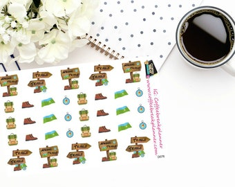 Planner Stickers | Hiking Stickers|Hiking Trail Stickers|Camping Stickers|Trail Stickers|Decorative Planner Stickers|Outdoor Stickers|D076