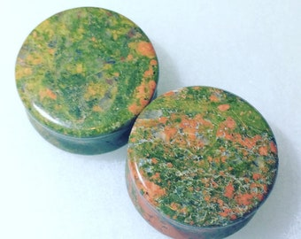 "Unakite jasper 1"" Double Flare ear Gauge"