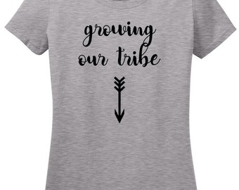 Growing Our Own Tribe Pregnancy T-Shirt with Native American Arrow, Pregnancy Announcements, baby shower gift, New Mom, Arrow design