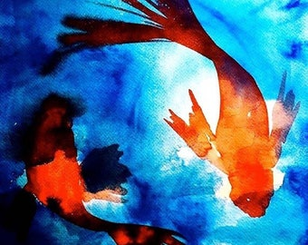 CIRCLING KOI Limited Edition Watercolor Print by Victoria Anderson