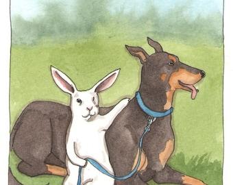 Original Watercolor Rabbit Painting - Doberman