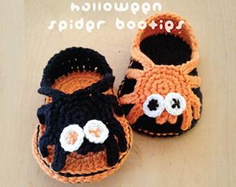 Halloween Crochet Pattern Spider Carefree Sandals Spider Baby Booties Spider Newborn Sandals Spider Newborn Slippers Spider Spider Applique