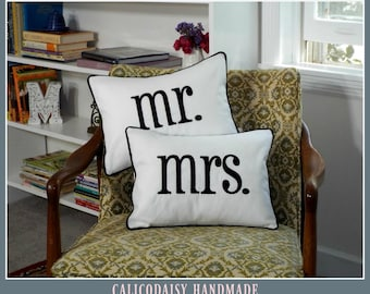 mr and mrs Embroidered Pillow Cover Set - Choose Your Colors - 12 x 16