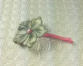 Mother of Pearl Petunia Hair Pin in Silver and Pink