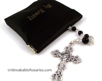 Black Rosary Case Squeeze Pouch Large Enough To Hold A Wire-Wrapped Rosary