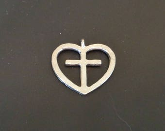 Silver Cross in Heart Charm - Low Shipping
