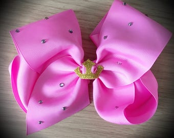 Sleeping Beauty Aroura Disney Princess Large Pink Rhinestone Cheer Hair Bow