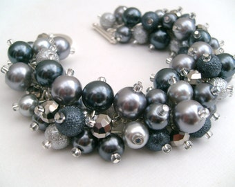 Bridal Jewelry, Wedding, Silver and Slate Gray Pearl Bridesmaid Bracelet, Chunky Bracelet, Cluster Bracelet, Gray Bridesmaid Jewelry, Silver