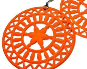 Neon Orange Statement Earrings, Colorful Earrings, Disc Earrings, Neon Jewelry,  Lightweight, Filigree, Dangle