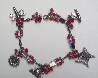 Charm Bracelet Red Beaded and  Garden-Themed Charm Bracelet Gift for Her